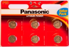 Pack of 6 Panasonic CR2025 Lithium 3 Volt Batteries
