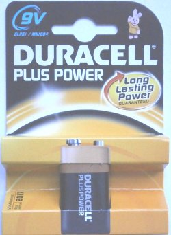Duracell Plus 9 Volt PP3 (MN1604) Battery