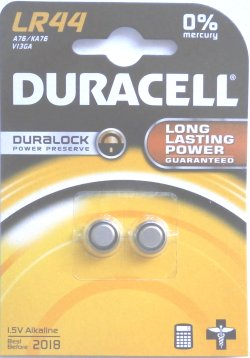 Duracell Duralock LR44 Pack of 2 Alkaline Batteries