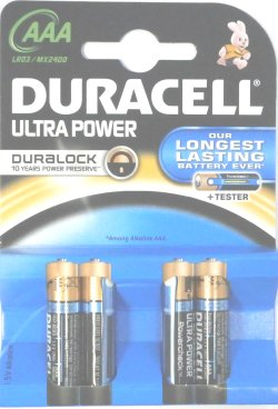 Duracell Ultra AAA 1.5 Volt Alkaline Pack of 4 Batteries
