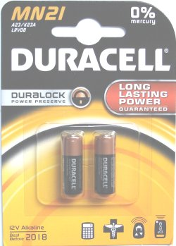 Duracell Duralock MN21 (LRV08 A23) Twin Pack 12 Volt Batteries