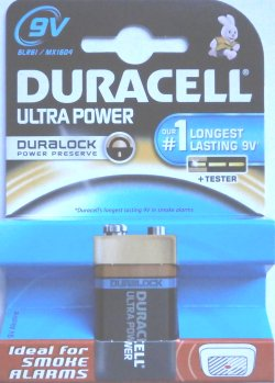 Duracell Ultra 9 Volt PP3 (MN1604) Duralock Battery - Click Image to Close