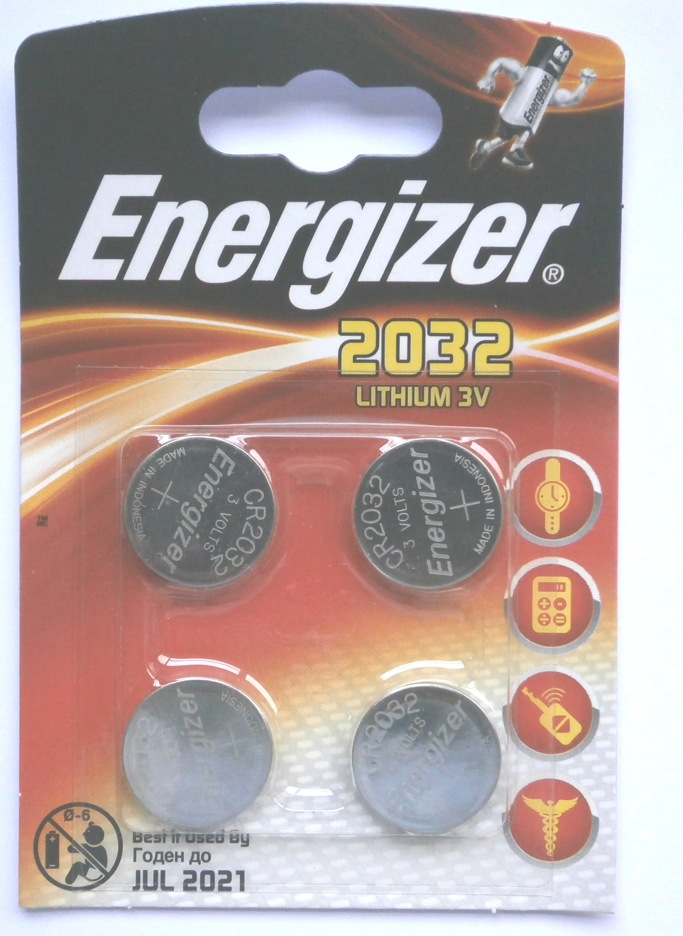 Energizer Lithium CR2032 3 Volt Battery Pack of 4