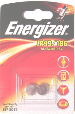 Card of 2 Energizer LR43 / 186 Batteries