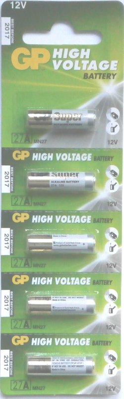 GP 27A Alkaline 12 Volt Batteries Pack of 5