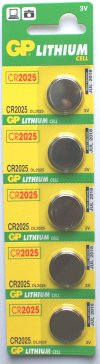 GP CR2025 3 VOLT LITHIUM BATTERIES Pack of 5
