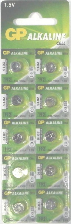 GP LR41 ( AG3 192 ) Batteries Pack of 10