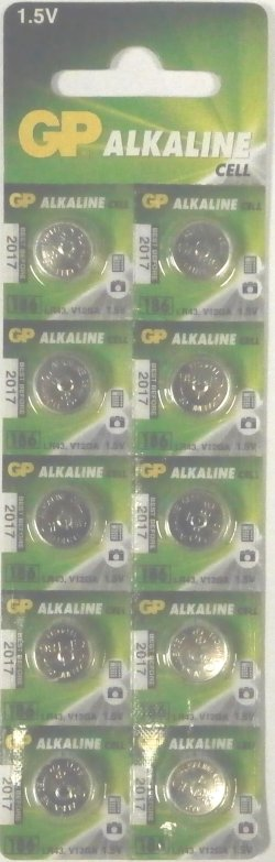 GP 186 (LR43, AG12) Batteries Card of 10