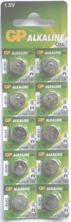 GP LR44 (AG13 A76) Alkaline 1.5 Volt Batteries Pack of 10