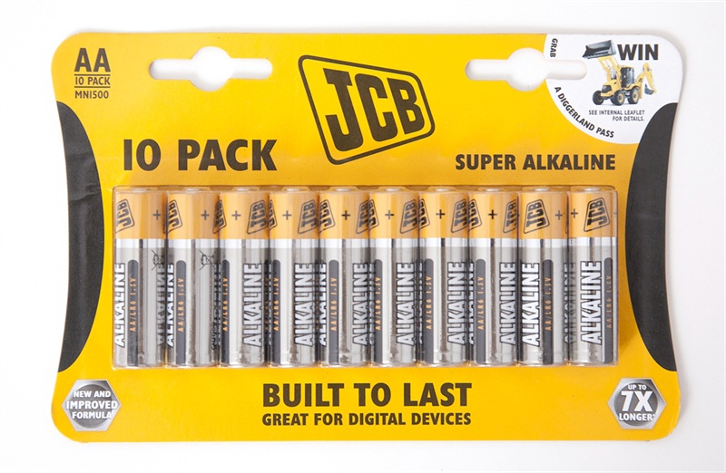 Pack of 10 JCB Super Alkaline 1.5 Volt AA Batteries