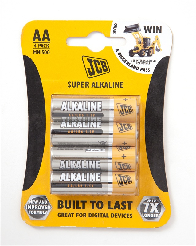 Pack of 4 JCB Super Alkaline 1.5 Volt AA Batteries
