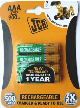 JCB AAA 1.5 Volt 900mah Rechargeable Batteries 4 Pack
