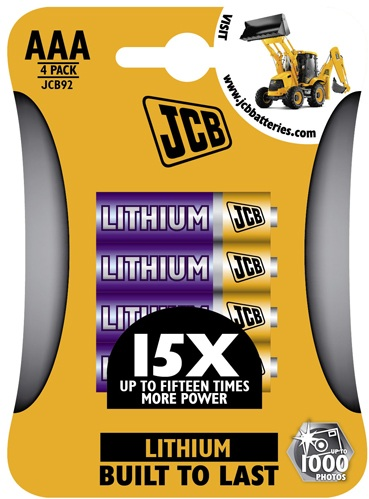 JCB AAA 1.5 Volt 900mah Lithium Batteries 4 Pack