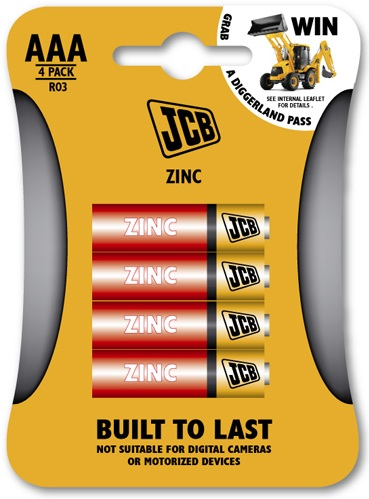 Pack of 4 JCB AAA 1.5 Volt Zinc Batteries