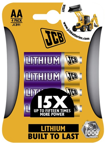 JCB AA 1.5 Volt 1200mah Lithium Batteries 4 Pack