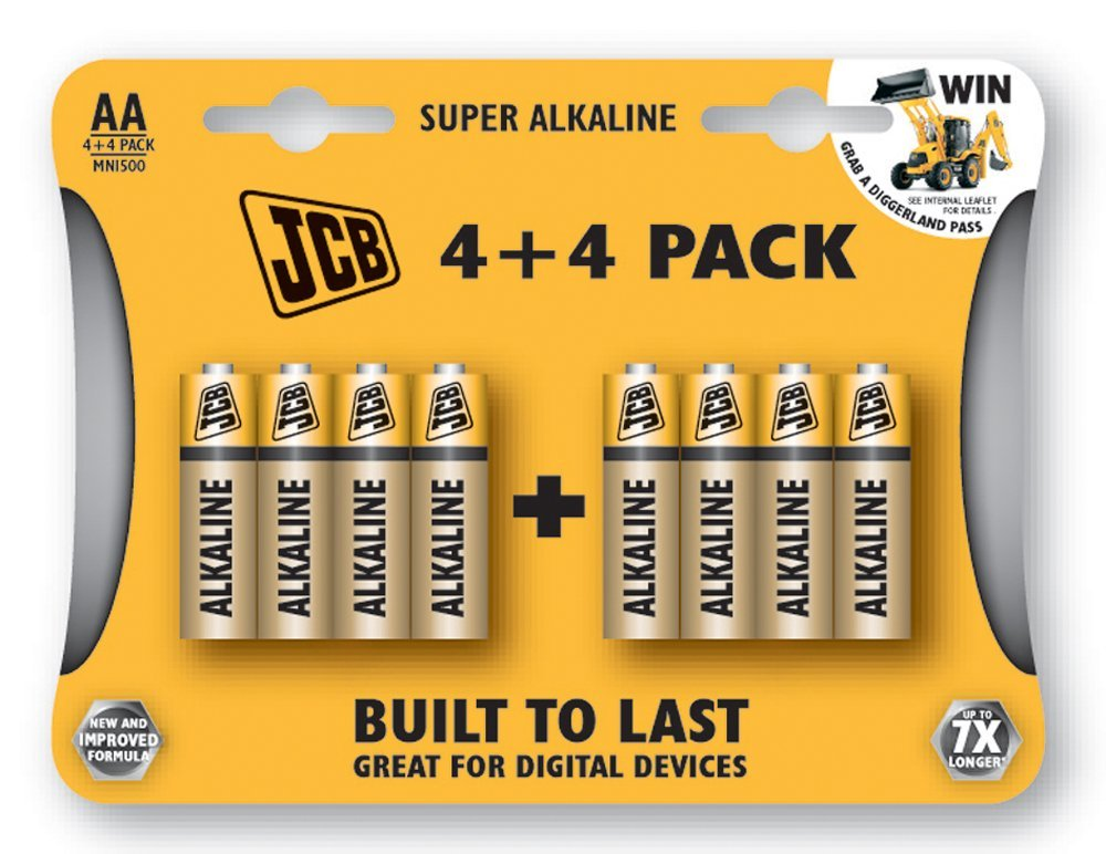 4+4 Pack of JCB Super Alkaline 1.5 Volt AA Batteries