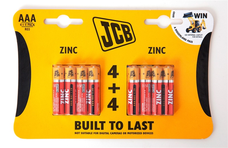 Pack of 4+4 JCB AAA 1.5 Volt Zinc Batteries