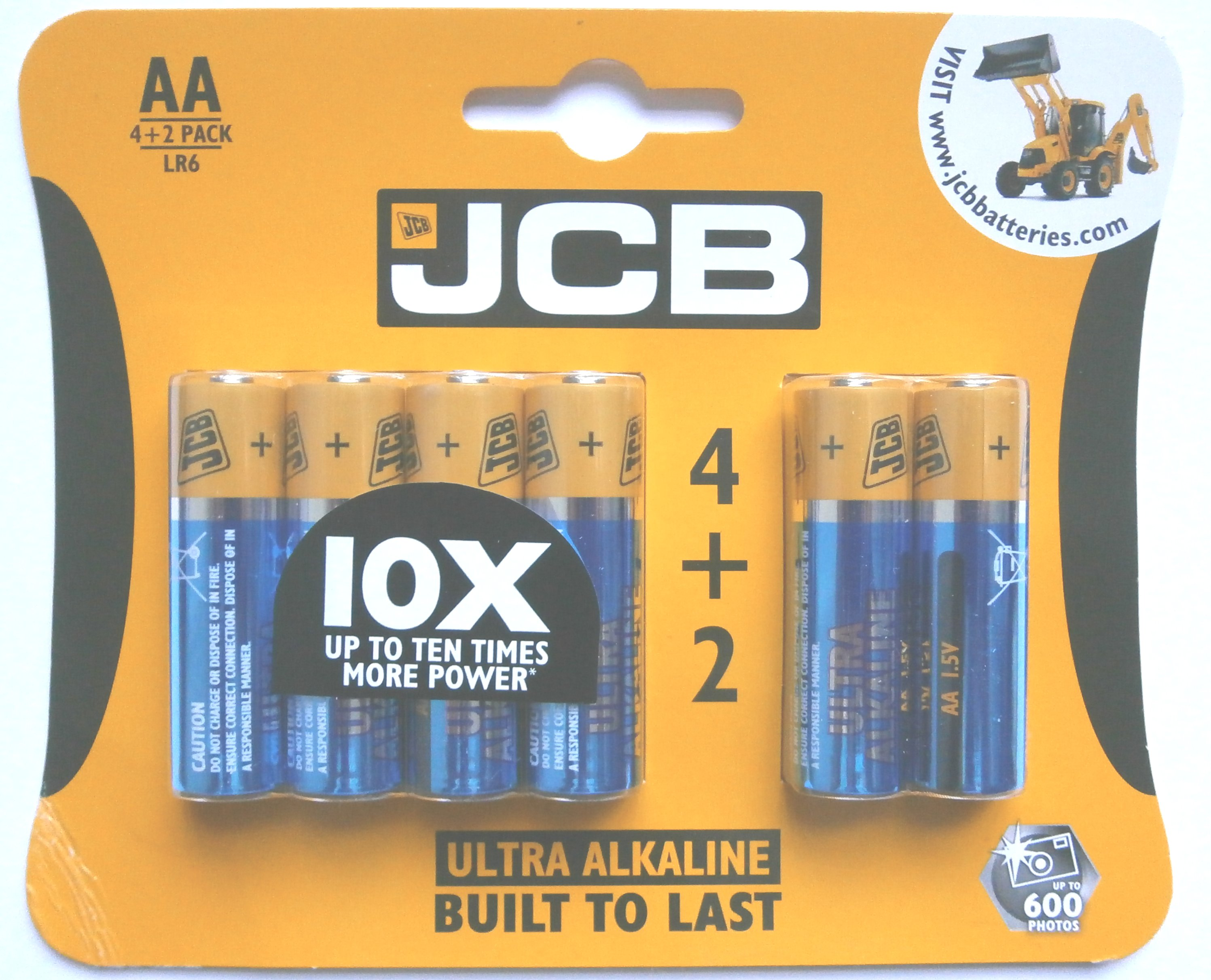 4+2 Pack of JCB Ultra Alkaline 1.5 Volt AA Batteries