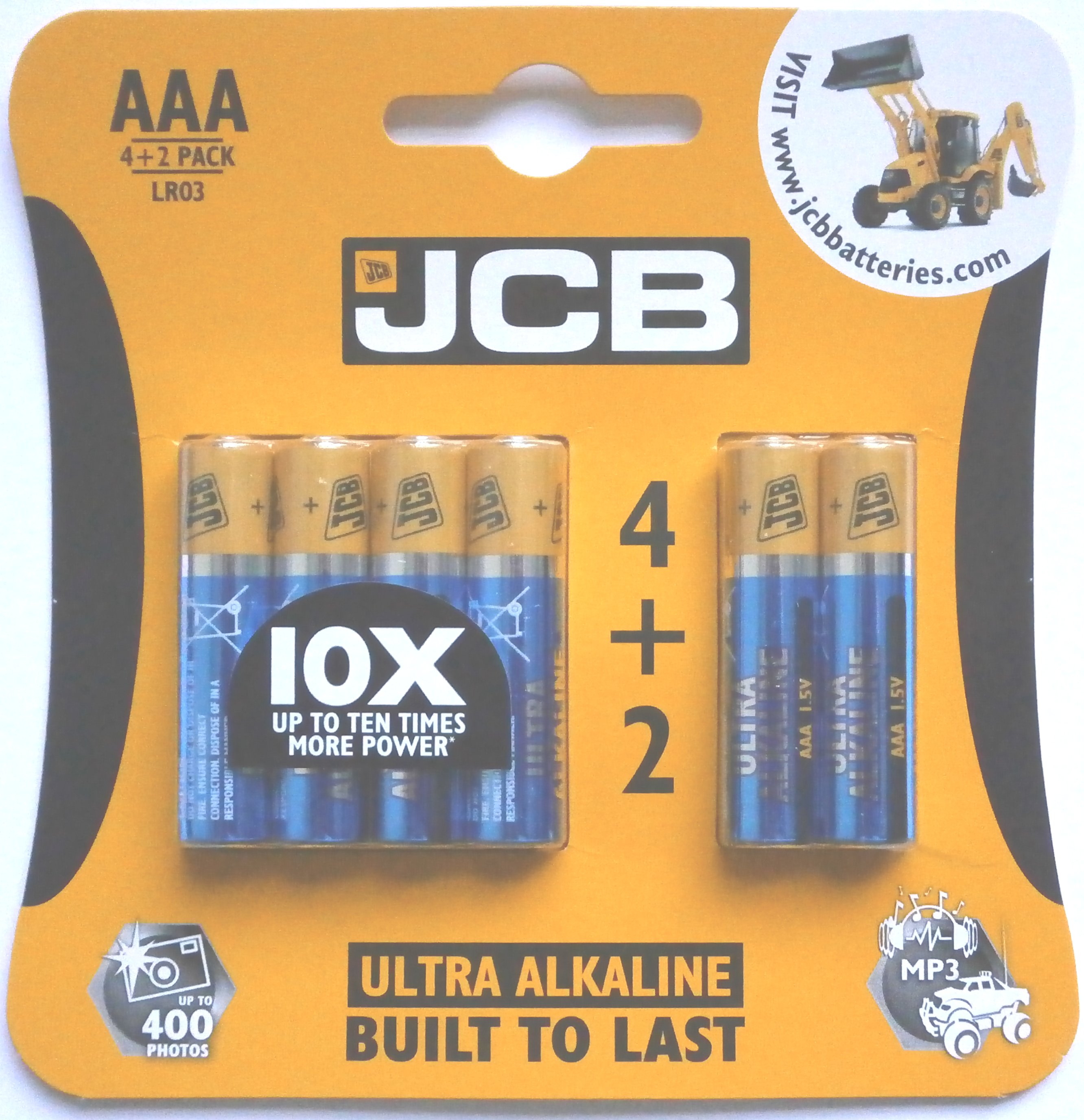 4+2 Pack of JCB Ultra Alkaline 1.5 Volt AAA Batteries