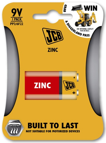 JCB PP3 ( mn1604 ) 9 Volt Zinc Battery