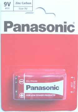 Panasonic Zinc Carbon 9 Volt PP3 (MN1604) Battery