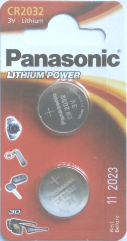 2 x Panasonic CR2032 Lithium 3 Volt Batteries