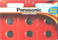 Pack of 6 Panasonic CR2016 Lithium 3 Volt Batteries