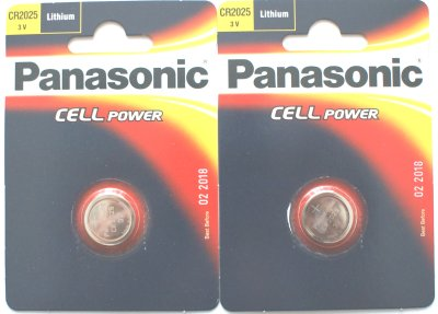 2 x Panasonic CR2025 Lithium 3 Volt Batteries