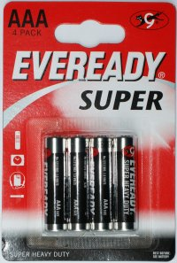 Eveready Super AAA Batteries pack of 4