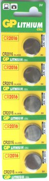 GP CR2016 3 VOLT LITHIUM BATTERIES Pack of 5