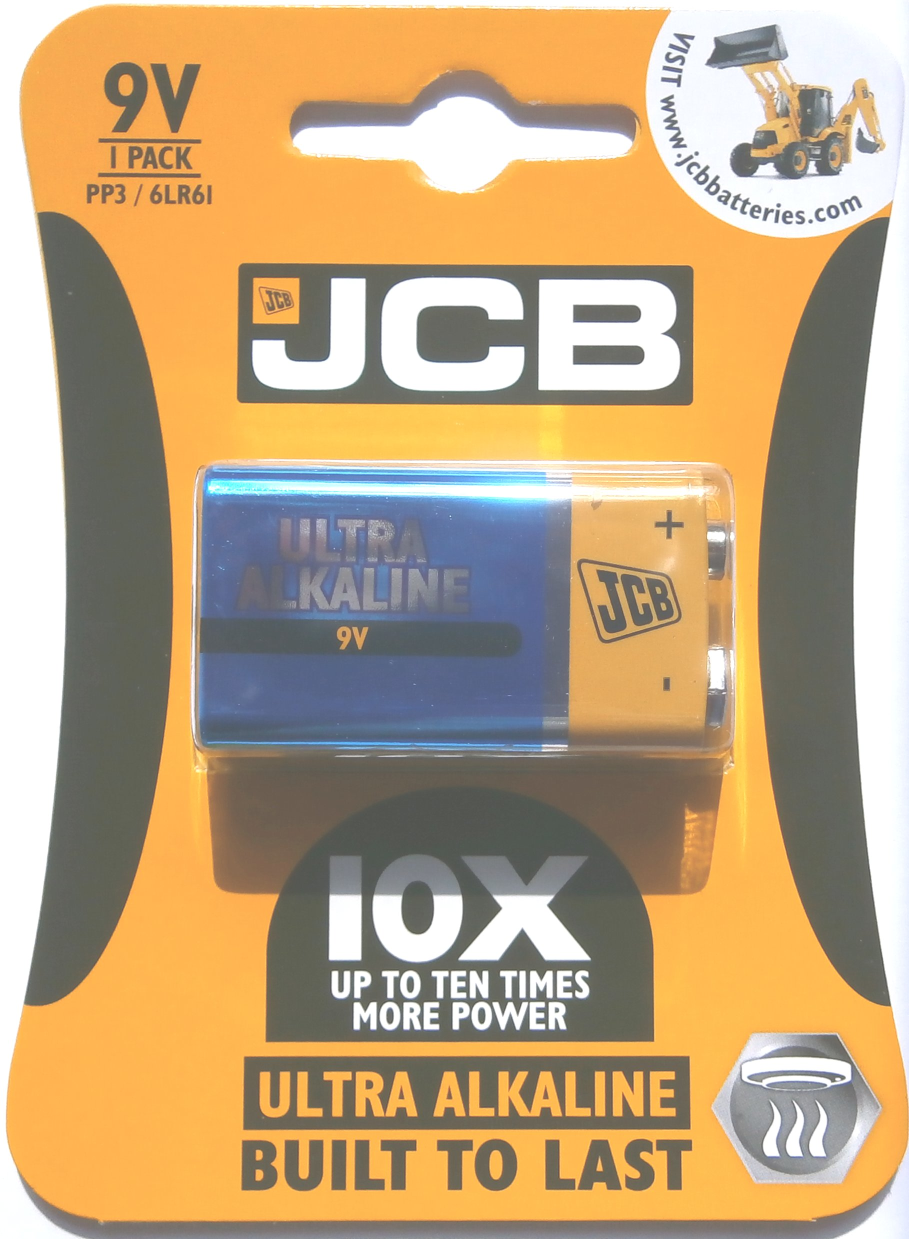 JCB Ultra Alkaline 9 Volt PP3 Battery