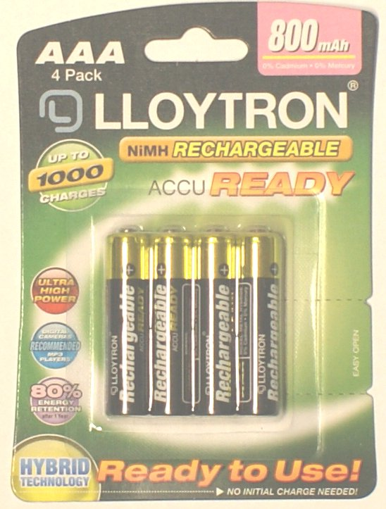 Pack of 4 800mah AAA 1.2 Volt Rechargeable Batteries by Lloytron