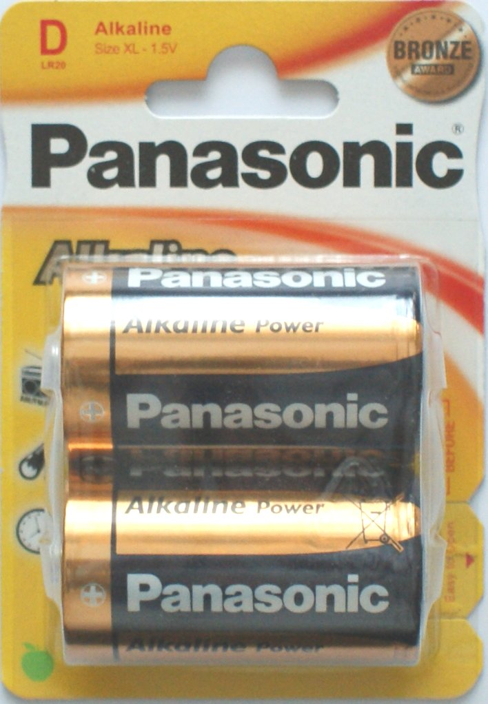 Panasonic D Batteries Alkaline Power Bronze 2 Pack