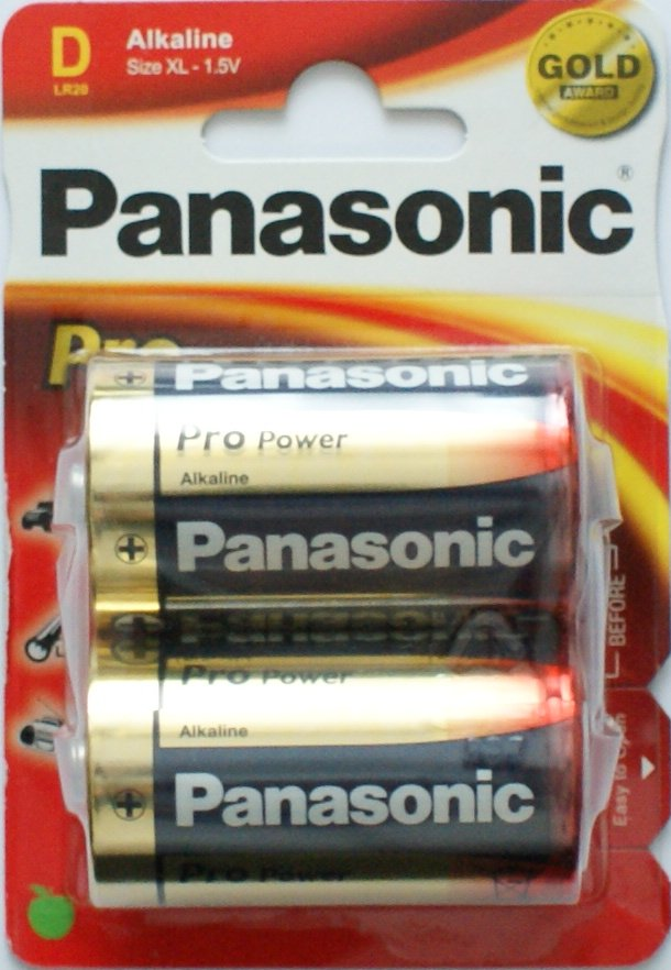 Panasonic D Batteries Pro Power Gold 2 Pack - Click Image to Close