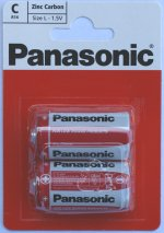 Pack of 2 Panasonic size C Batteries Zinc Carbon